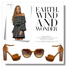 """""""The Wanderer"""" by amiclubwear on Polyvore featuring sunglasses, Trendy, ChunkyHeels and printeddress"""