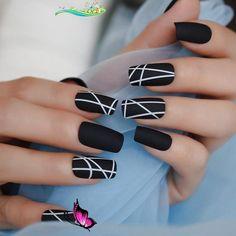nailart  <br> Black Acrylic Nails, Best Acrylic Nails, Acrylic Nail Designs, Nail Art Designs, Nails Design, Black Nails, Black Nail Designs, Matte Nail Art, Square Nail Designs