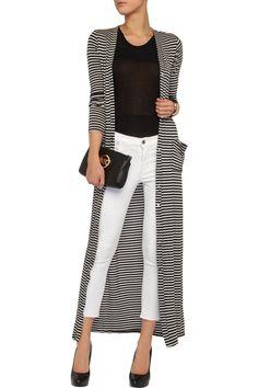 Tart Cleo striped ribbed-jersey maxi cardigan
