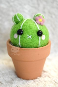 Felted Bear Cactus in a Terra Cotta Pot by xxNostalgic on Etsy