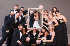 23 Cute And Clever Ideas For Your Wedding Party Photos is part of Wedding party photography It& party time & - Wedding Picture Poses, Wedding Photography Poses, Wedding Poses, Wedding Photoshoot, Wedding Dresses, Photography Ideas, Party Photography, Bridal Gowns, Bridal Party Poses