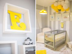 Baby Crib Nursery Yellow Gray Grey