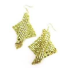 """Fashion Dangle Earrings; 4""""L; Gold Mesh metal; Yellow Rhinestones; Eileen's Collection. $19.99. Save 50% Off!"""
