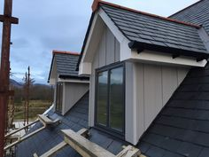 Vertical Cedral Weatherboard used on Dormer Windows next to Natural Slate Loft Dormer, Shed Dormer, Cedar Cladding, House Cladding, Small Attic Room, Attic Rooms, Cottage Exterior, Exterior House Colors, Cedral Weatherboard