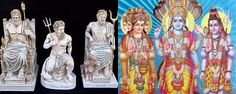 In Greek and Indian mythology they both have what is considered the Holy Trinity of Gods. Zeus, Hades, and Poseidon are the trinity in Greek mythology with Brahma, Vishnu, and Maheshwar being the Indian's trinity. Greek Gods And Goddesses, Greek Mythology, Indian Gods, Sanskrit, Underworld, Hades, History, Painting, Costumes