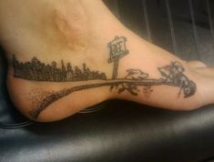 Where the Sidewalk Ends tattoo. Done by Inkaholics in Gainesville, GA.--don't even want a tattoo but love the poem, the image, and the placement Funny Tattoos, New Tattoos, Body Art Tattoos, I Tattoo, Tattoo Quotes, Foot Tattoos, Tattoo Girls, Girl Tattoos, Tatoos