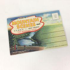 Postcard Souvenir Folder Of Mountain Scenes US 60 + 21 West Virginia Foldout Vintage by KoolKoolThangs on Etsy