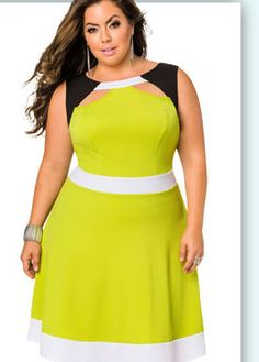 fabd0ea8b426b Tri-Tone Cut Out Skater Dress-Plus Size Dresses-Ashley Stewart