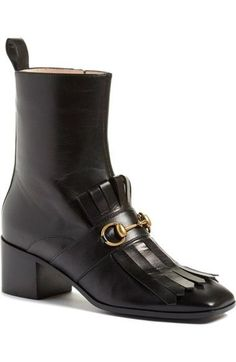 """- Kiltie fringe and polished bit hardware enhance the vintage refinement of a block-heel bootie crafted in Italy from smooth, burnished leather. - 2"""" (50mm) heel (size 39), - 7"""" shaft. - Side zip clos"""