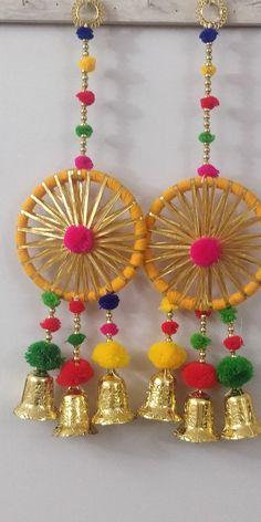 Decorative Hangings with Bell Pom Pom & Gota Tassels for | Etsy Diwali Decoration Items, Diwali Decorations At Home, Indian Wedding Decorations, Diya Decoration Ideas, Door Hanging Decorations, Wall Hanging Crafts, Backdrop Decorations, Diwali Diy, Diwali Craft