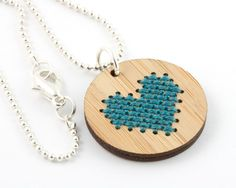 DIY Cross Stitch Necklace Kit, Bamboo Heart Pendant via Etsy.