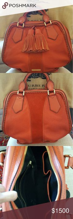 Burberry Hand Bag Authentic Burberry Orange Tassel Hand Bag Burberry Bags Totes