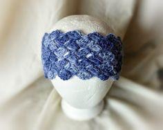 Blue alpaca headband Crochet ear muff Faded by 910woolgathering