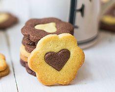 Galletas de mantequilla corazón de chocolate y vainilla