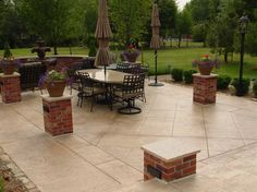 Tan Squared Patio, Brick Pillars  Concrete Patios  QC Construction Products  Madera, CA