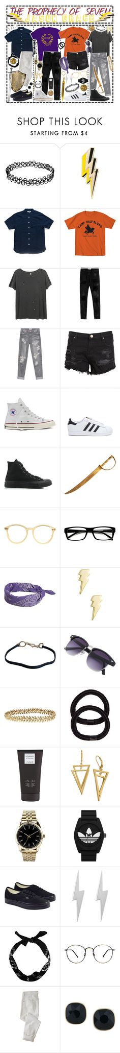 """""""- ̗̀ The Prophecy of Seven: Jason Grace  ̖́-"""" by i-get-a-little-bit-breathless ❤ liked on Polyvore featuring Anya Hindmarch, R13, Faith Connexion, OneTeaspoon, Zoe Karssen, Converse, adidas, American Apparel, ZeroUV and Jewel Exclusive"""