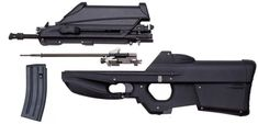 FN F2000 assault rifle, in standard configuration, disassembled into major components