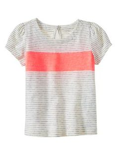 Colorblock striped top in neon orange light | Gap - Baby Girl