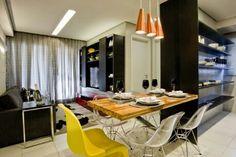 Inspiração ♡ #interiores #design #interiordesign #decor #decoração #decorlovers #archilovers #inspiration #ideias #integrado #sala #saladetv #hometheater #saladejantar #diningroom #cozinha #kitchen