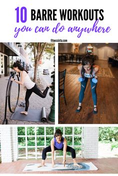 This is a collection of barre workouts that you can use while you're traveling, working out at home, or looking to change things up at the gym. Lots of video workouts here, too! All you need is a mat and a pair of light dumbbells. Barre Moves, Barre Workouts, Studio Workouts, Fitness Workouts, Fitness Tips, Quick Workouts, Body Workouts, Fitness Goals, At Home Workouts For Women