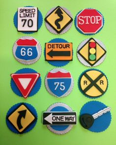 New Driver Road Signs Fondant Cupcake Toppers by CherryBayCakes, $36.00