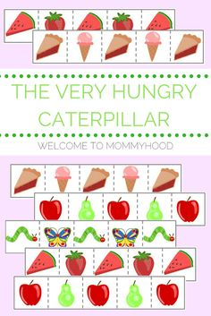 Free printables; The Very Hungry Caterpillar Cutting Strips by Welcome to Mommyhood #theveryhungrycaterpillar, #ericcarle, #montessori, #montessoriactivities, #preschoolactivities