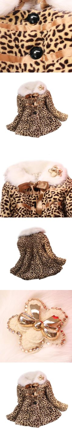 2016 Top Fashion Real Full Baby Children Girls Leopard Faux Fox Fur Collar Coat Clothing Winter Wear Clothes Outerwear Jacket