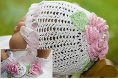 CC36-Victorian Rose Baby Bootie & Bonnet Patttern