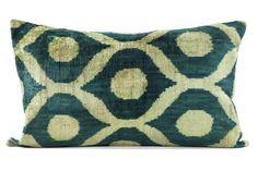 Silk Velvet Pillow -Teal/Green - Indigo&Lavender - $120 - domino.com