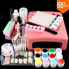 [Visit to Buy] Gel polish set Soak Off Gel kit Manicure File Led uv 36W Curing Lamp Nail art diy with Base Top coat Cleanser Buffer Remover #Advertisement