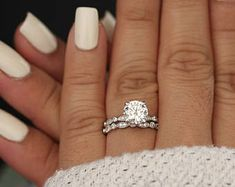 Wedding Ring Set, Moissanite 14k White Gold Engagement Ring, Round 8mm Moissanite Ring, Diamond Milgrain Band, Solitaire Ring, Promise Ring