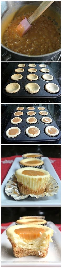 Caramel Cheesecake Bites - Pinning these for My hubby - might have to make them next week so as to remind him how much I adore him! Caramel Cheesecake Bites, Cheesecake Recipes, Dessert Recipes, Cheesecake Cupcakes, Just Desserts, Delicious Desserts, Yummy Food, Think Food, Love Food