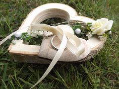 Ringkissen Ringhalter Herz für Eheringe Hochzeit Liebe Holzherz creme 13 cm