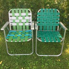 Lot: 2 Vintage Aluminum Frame Woven Webbed Folding Metal Lawn Chairs Green Multi  | eBay