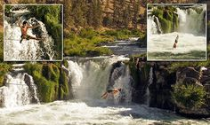 Daredevil lies down on slackline 30ft above waterfall before slipping