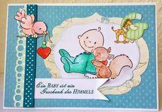 Babykarte im Doppelpack - mit Stempel von Marianne Design, neuer Randstanze von EK und Basil Dots Papier, wieder coloriert mit TwinklingsH2O.