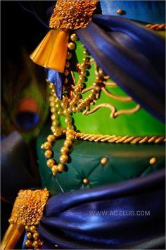 Peacock, navy, blue, green, purple and gold wedding cake – South Dakota    followpics.co