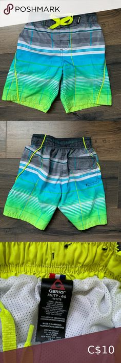 NEW Baby Boys Swim Trunks Bathing Suit Shorts 12 Months Lined Green Blue Summer