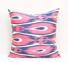 20 x 20 inch ikat Pillow cover, Coral Red