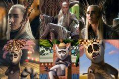 Gloria = Tauriel, Melman = Legolas, Alex = Fili, Marty= Kili, Skipper= Thorin, Kowalski = Balin, Private = Ori... AND I AM MORT BECAUSE KING JULIEN IS THRANDUIL