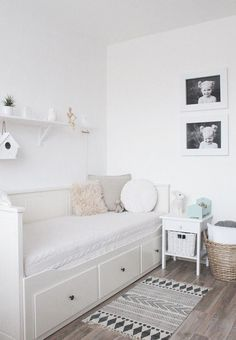 all-white kids room Bedroom Decor, Room Makeover, White Kids Room, Daybed Room, Room, Small Room Bedroom, Kid Room Decor, Ikea Kids Room, Small Bedroom
