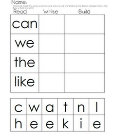 Read, Write, Build: Love this idea for an at-home way to pratice sight words or outlaw words. Would work great for a independent work time during Guided Reading or small group, too!