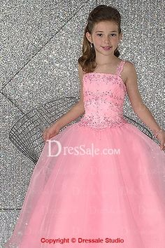 Pink Square Neckline Flower Girl Gowns
