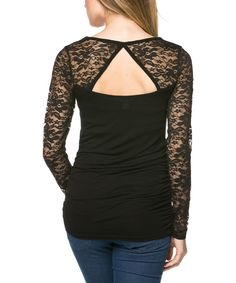 Look at this Serene Blue Black Lace Cutout Tee on #zulily today!