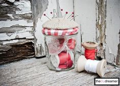 Are you in need of sewing room organization ideas to de-clutter your space? This Pretty Pincushion Jar will bring order to sewing area, while also adding adorable rustic charm. Sewing Hacks, Sewing Crafts, Sewing Projects, Craft Projects, Craft Ideas, Decor Ideas, Pots, Sewing Room Organization, Organization Ideas