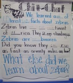 """Daily """"Chit Chat""""  (Examples of shared & interactive writing in kindergarten/first grade)"""
