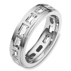 18 Kt White gold diamond eternity wedding band, 5.5 mm wide, comfort fit band. It holds 2.80 ct tw diamonds, VS in clarity and GH in color. The finish on the ring is polished. Other finishes may be selected or specified.#diamondweddingbands