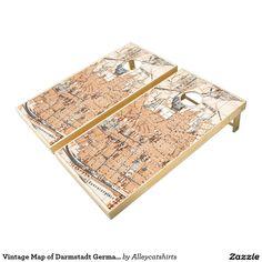 Vintage Map of Darmstadt Germany (1905) Cornhole Set