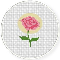 Charts Club Members Only: Pink Rose Cross Stitch Pattern