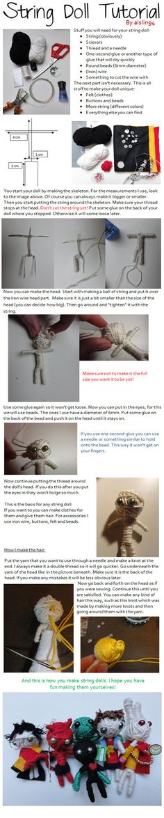 String Doll Tutorial by aislin94 on DeviantArt - Pinned by The Mystic's Emporium on Etsy
